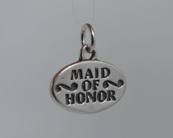 Vintage Sterling MAID OF HONOR Charm or Pendant Wedding Favor - 2.76 G