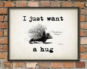 I just want a hug - Porcupine Wall Art Poster Home Decor - Dorm Decor
