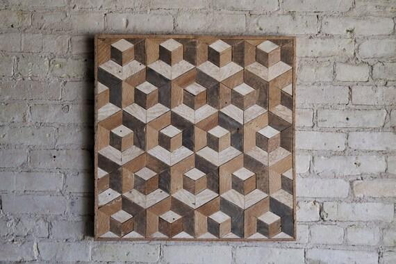 Reclaimed Wood Wall Art | Wood Decor  | Reclaimed Wood | Wood Art | Rustic Geometric| Wood Decor | Handmade | Tesselation | Cube | Natural