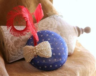 Blue fascinator - fascinator - fourth of july fascinator - sinamay fascinator - blue hat -vitnage hat - wedding fascinator - fascinator hat