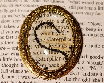 Absolem Alice in Wonderland Caterpilar Cameo Brooch Cabochon Ink Paper Book Fantasy Jewellery Jewelry