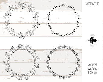 Flower wreath black svg, png, ai  - Leaf wreath - laurel wreaths clipart instant digital download - leaf circle monogram frame file, vector