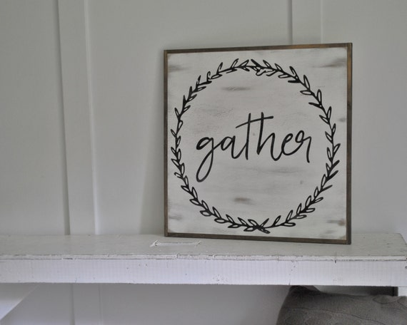 Items similar to gather 2 39 x2 39 sign distressed shabby for Shabby chic dining room wall art