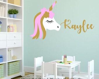Unicorn monogram wall decal - girls name personalized unicorn wall decal - unicorn monogram wall decal