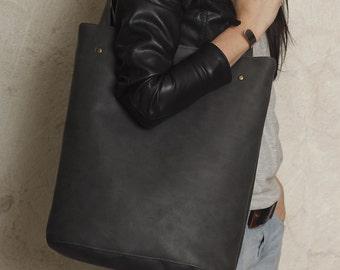 Shopper bag graphite dark grey blazed tote bag shoulder oversized extra large big school laptop market everyday vegan faux leather pockets