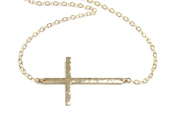 Hammered Sideways Cross Necklace, 14kt Gold FILLED, Celebrity Inspired Kelly Ripa