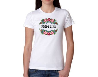 Mom Life Cross Stitch Needle Point Ladies T Shirt Mother's Day Gift