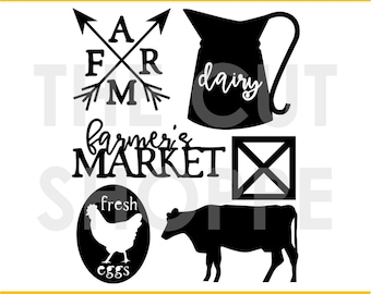The Farm Fresh cut file set includes 6 farm themed images, that can be used for your scrapbook and paper craft projects.