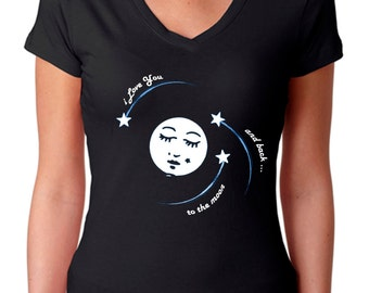 moon shirt - moon tshirt -  love shirt - love tshirt - womens tshirts - valentines gift - I LOVE YOU To The Moon and Back - sport v-neck