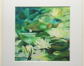 Water lilies print from original acrylic on canvas painting
