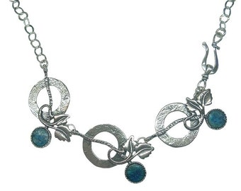 Retro Roman Glass Necklace, 3 Charms Roman Glass Necklace, Artisan Roman Glass Jewelry, Israel OOAK, Romantic Gift, Blue Bold Glass Necklace
