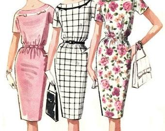 40% OFF 1960s Slim Bateau Neck Dress Pattern McCall's 6267 1962 Vintage Dress Pattern UNCUT, Factory-Folded Bust 36