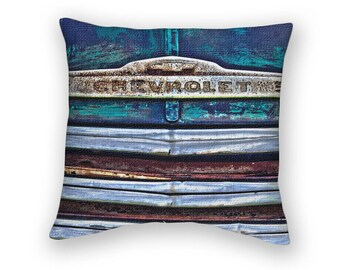 Blue Chevrolet Grill Throw Pillow, Old Truck, Gift for Him, For Dad, Man Cave Scatter Cushion