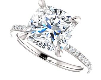 3.50 Carat Forever Brilliant Moissanite Engagement Ring with Genuine Diamond Sidestones