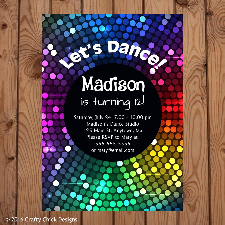Dance Party Invitation Dance Party Birthday Invitation Dance