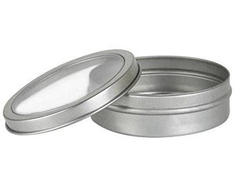 2 oz Clear Top Tin Containers- Round, Silver