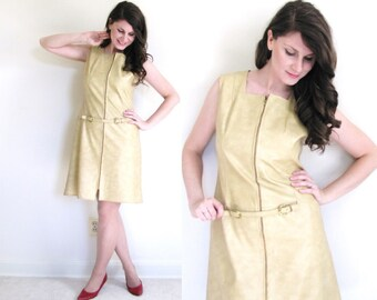 60s Faux Leather Dress / 60 gogo Dress / 1960s Pleather Dress