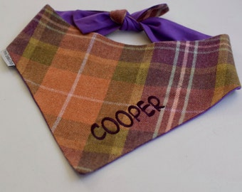 Personalized Fall Plaid Dog Bandana    Flannel Pet Scarf with Orange Lavender and Green    Puppy Dog Gift by Three Spoiled Dogs