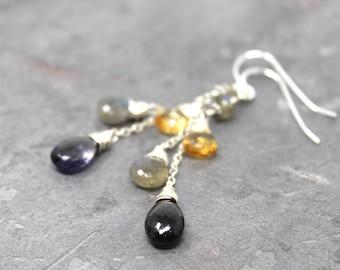 Multi Gemstone Earrings Sterling Silver Iolite Citrine Labradorite Cascade Dangle Earrings