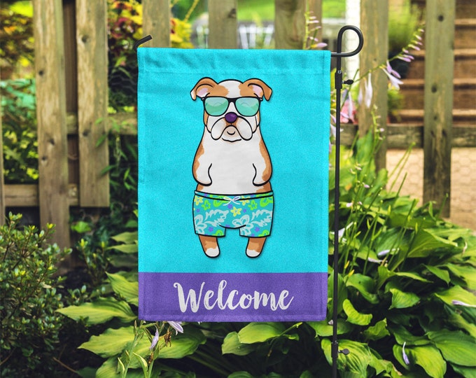 Featured listing image: English Bulldog Garden Flag (BOY) - Unique English Bulldog Gift - BOY Sunbathing English Bulldog Garden Flag
