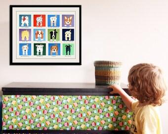 Dog prints for childrens art. Baby nursery decor kids art. Puppy nursery art print. Kids wall art. Kids decor. Dog art by WallFry