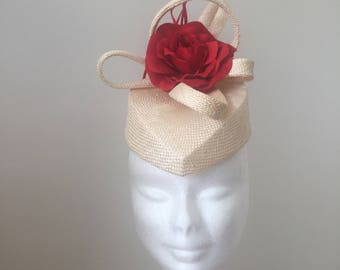 Cream and Red Fascinator