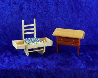 Dollhouse Miniature Furniture in half scale; 1:24 scale.  Shaker rocking sewing chair with side drawer with table.  Item #D298.