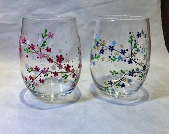 Set Of 2 Hand Painted Glasses - Cherry Blossom - Stemless Wine Handpainted Glass Glassware