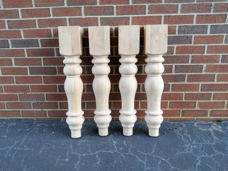 Unfinished Farmhouse Dining Table Legs Wood Turned Hardwood Chunky Wide Large