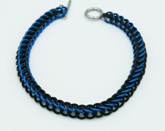 Black & Blue Chainmail Bracelet, Half Persian Weave, Chainmaille Bracelet, Chainmail Weave, Chainmail Jewelry, Handmade Bracelet