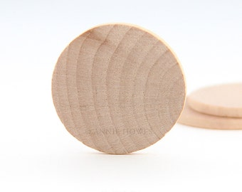 100 Round 1.5 Inch Thin Wood Disks for Pendants, Magnets, Scrapbooking, and More. FLAT SIDES. Bulk Lot.