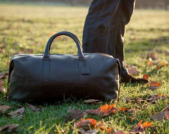 Classic Black (Side Pocket Model) - Real Leather Duffle / Duffel Bag by Fox Archer - Leather Duffle Weekend Holdall Bag