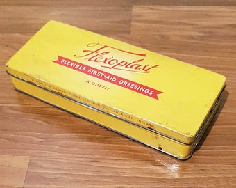 Vintage 1950s Flexoplast Bandages Tin Litho Yellow & Red Tin Advertising Box, Made in England