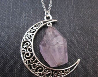 Silver Filigree Moon Charm with Rough Faceted Amethyst Nugget
