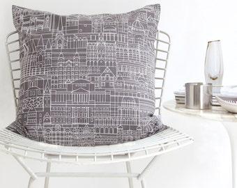 Cushion Cover - Melbourne Cityscape Cushion White on Grey - Screen Printed Cotton, Hand Printed