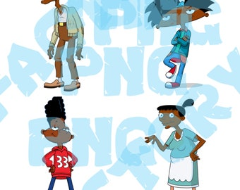 Hey Arnold African American Theme Bundle ClipArt-Hey Arnold-Party Supplies-Hey Arnold Birthday-Hey Arnold Shirt-Hey Arnold Bundle-SVG-PNG