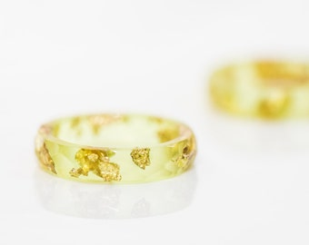 Lime Resin Ring Yellow Stacking Ring Gold Flakes Small Faceted Ring OOAK minimal chic jewelry