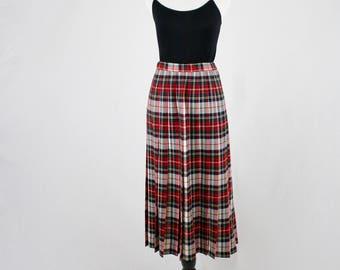 1990s Pendleton Wool Plaid Pleated Skirt