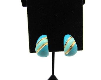 Earrings, Enameled Earrings, Teal Blue, Vintage,  Clip On Earrings, Screw Back Earrings, Combo,  Striped, Hoop Earrings, Vintage Jewelry
