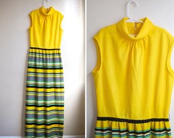 Vintage Striped Yellow Sun Dress