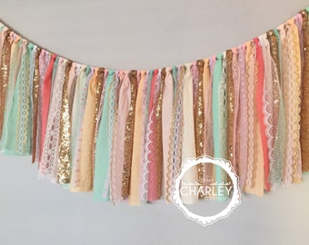 Coral, Peach, Mint, Pink & Gold sequin garland banner - photo prop, cake smash, backdrop, curtain valance