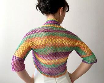 Crochet bolero shrug, evening bolero, multi color bolero, summer bolero, violet yellow green shrug, gift for her, XS-3XL, fast shipping