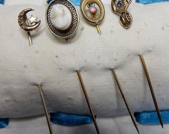 4 Antique StickPins Hat Pins Scarf Stick Pins Cameo, Crescent Moon, Opal    NDT47