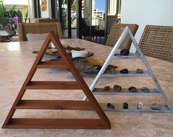 Triangle Shelf, Silver Triangle Shelf, Teak Stained Triangle Shelf, Pyramid Shelf, Meditation Shelf, Altar, Crystal Display Shelf