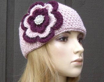 Flower Head Wrap Headband Ear Warmer Winter Knit Pink with Sparkle Button