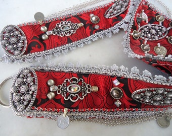 Red fighters' belt-Tribal Fusion belt- Red/silver- Cabaret- Belly dance costume.
