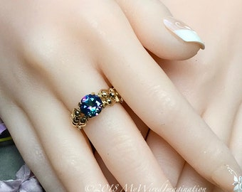 Mystic Topaz, Peacock Blue, Hand Crafted Wire Wrapped Ring, Genuine Mystic Topaz, Rainbow Mystic Signature Design Fine Jewelry Made To Order