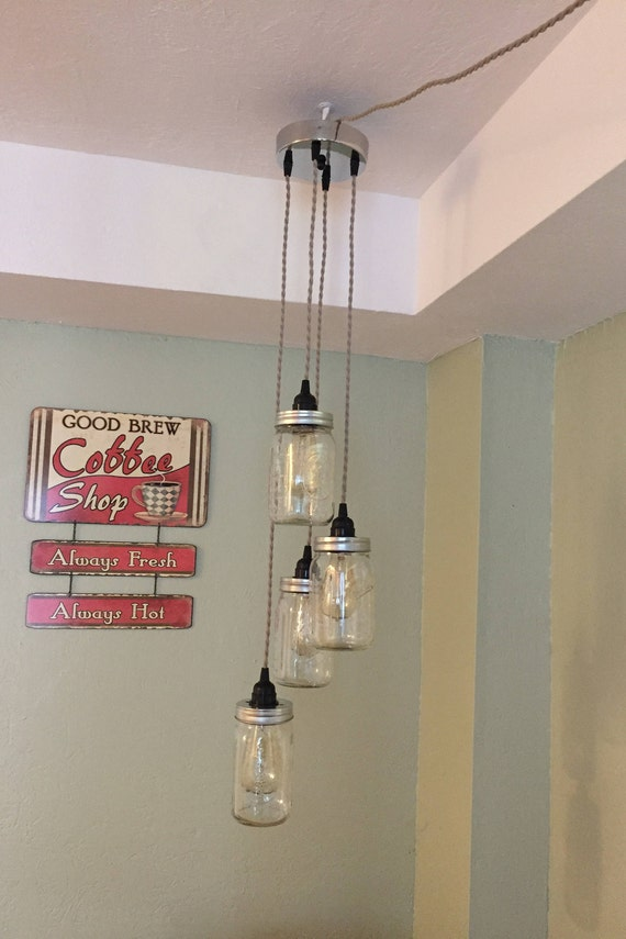 Jar chandelier swag light chrome canopy twisted cloth cord like this item aloadofball Image collections