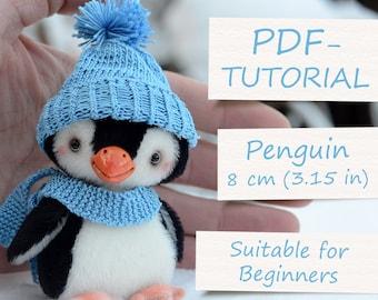 """Miniature Teddy Penguin Pattern. Teddy Pattern. Teddy bear penguin. Soft toy pattern. Teddy tutorial. Teddy bear tutorial (4""""/10cm)"""