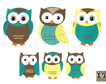 Owl Decal, Owl Wall Decal, Owl stickers, Nursery Wall Decal, Owl sticker, Turquoise & Yellow Design